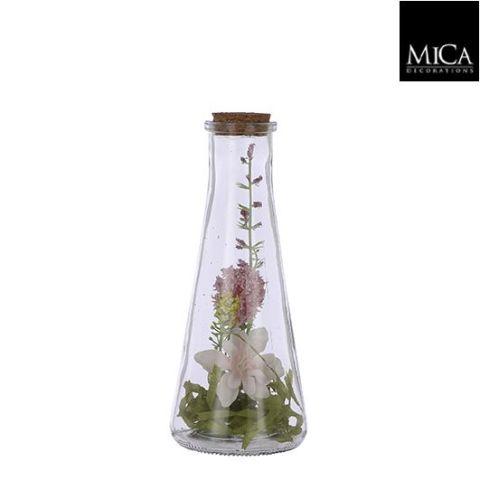 Vaas kuivatatud lilledega - h19x8cm