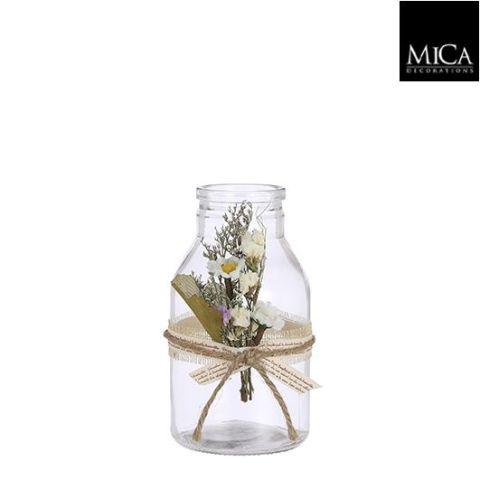 Dekoratsioon klaaspudel lilledega - h15xd8cm