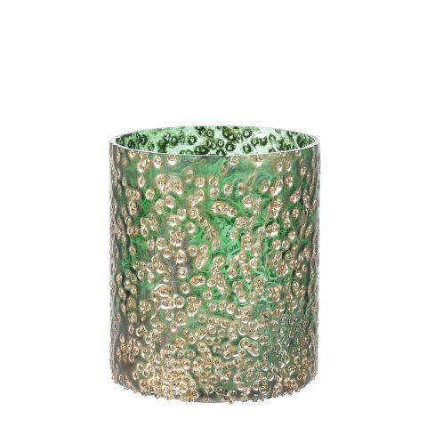 Teeküünlahoidja roheline/kuldne h9xd8cm