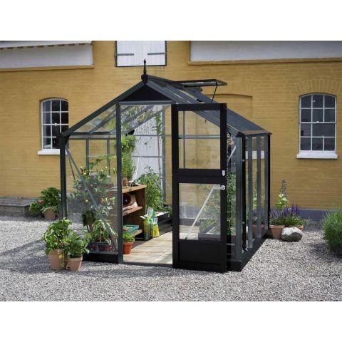 JULIANA Kasvuhoone Compact 5,0 m2 antratsiithall karkass, 3 mm karastatud klaas, must alusraam