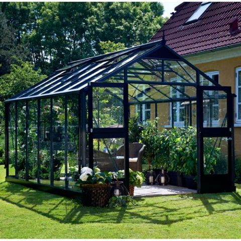 JULIANA Kasvuhoone Premium 8,8 m² antratsiithall karkass, 3 mm karastatud klaas, must alusraam