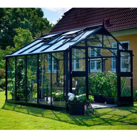JULIANA Kasvuhoone Premium 10,9 m² antratsiithall karkass, 3 mm karastatud klaas, must alusraam