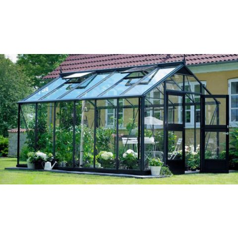 JULIANA Kasvuhoone Premium 13,0 m² antrasiithall karkass, 3 mm karastatud klaas, must alusraam