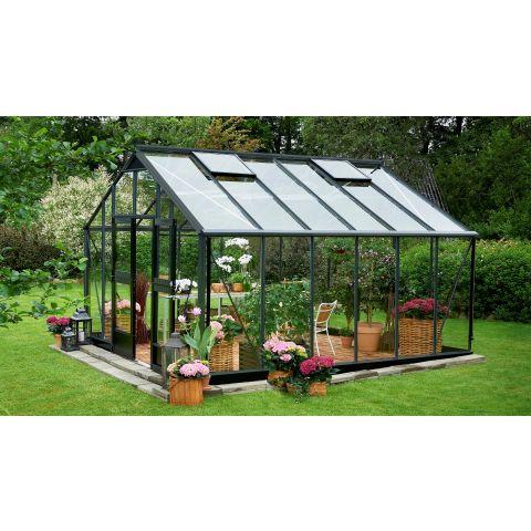 JULIANA Kasvuhoone Gardener 16,2 m² antratsiithall karkass, 3 mm karastatud klaas, must alusraam
