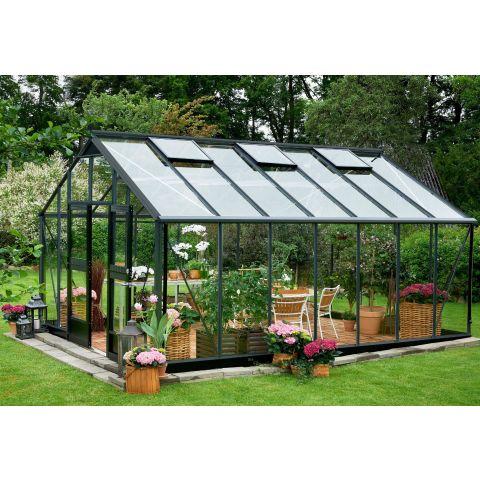 JULIANA Kasvuhoone Gardener 18,8 m² antratsiithall karkass, 3 mm karastatud klaas, must alusraam