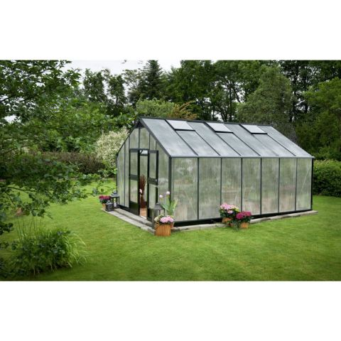 JULIANA Kasvuhoone Gardener 18,8 m² antratsiitsiithall karkass, 10 mm polükarbonaat, must alusraam