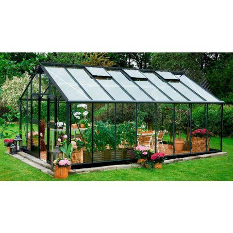 JULIANA Kasvuhoone Gardener 21,4 m² antratsiithall karkass, 3 mm karastatud klaas, must alusraam