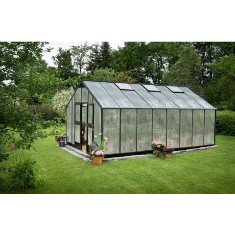 JULIANA Kasvuhoone Gardener 21,4 m² antratsiithall karkass, 10 mm polükarbonaat, must alusraam