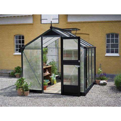 JULIANA Kasvuhoone Compact 5,0 m2 antratsiithall karkass, 10 mm polükarbonaat, must alusraam