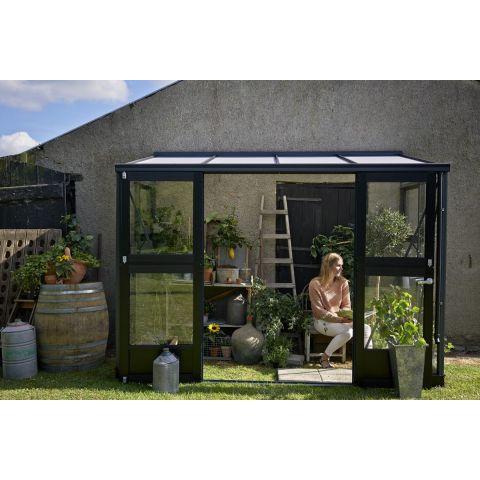 JULIANA Kasvuhoone Veranda 4,4 m² antratsiithall karkass, 3 mm karastatud klaas, must alusraam
