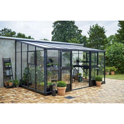 JULIANA Kasvuhoone Veranda 12,9m² antratsiithall karkass,  3 mm karastatud  klaas, must alusraam