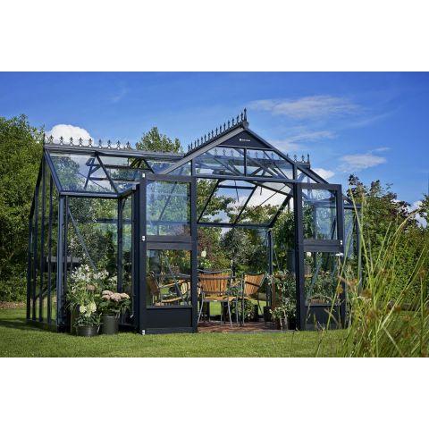 JULIANA Kasvuhoone Orangerie 15,2 m² antratsiithall karkass, 3 mm karastatud klaas, must alusraam