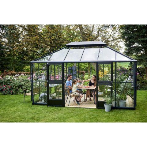 JULIANA Kasvuhoone Oase 13,5 m² antratsiithall karkass, 3 mm karastatud klaas, must alusraam