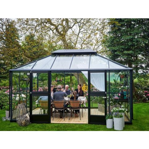 JULIANA Kasvuhoone Oase 13,0 m² antratsiithall karkass, 3 mm karastatud klaas, must alusraam