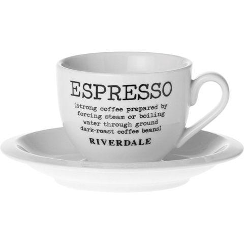RIVERDALE Tass koos alustassiga Love Espresso 11 cm