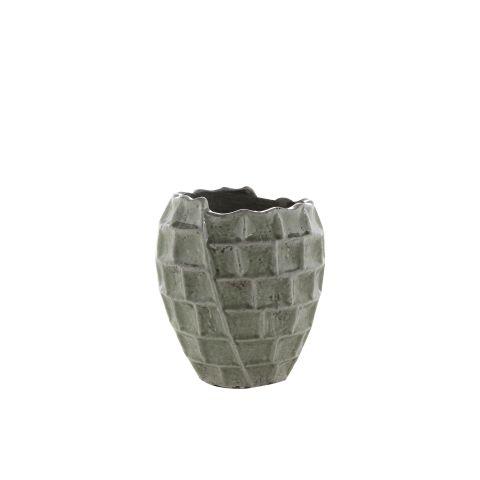 TER STEEGE Pott ümar reljeefsete ruutudega roheline h23xd21cm